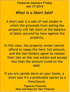 Welcome to Financial Answers Friday (Jan-17-2014)! Topic: What's a #shortsale?