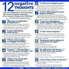 12 Negative Thoughts Holding You Back happy life happiness positive emotions lifestyle mental health confidence self improvement infographics self help emotional health Stress, Burn Out, Cognitive Behavioral Therapy, Cognitive Distortions, Therapy Tools, Play Therapy, Art Therapy, Speech Therapy, Coping Skills