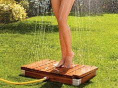 The Automatic Garden Shower installs in minutes. Once you step onto the platform, the water comes up like a fountain surrounding your body from head to toe.