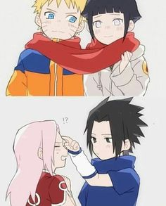Gestures of Love: Hinata gave Naruto that red scarf, that was knitted with her feelings of love towards him🧣 and Sasuke shows his love by giving Sakura the forehead tap that Itachi used to give to him. Naruto Uzumaki Shippuden, Naruto Shippuden Sasuke, Naruto Kakashi, Anime Naruto, Naruto Fan Art, Naruto Comic, Naruto Teams, Naruto Sasuke Sakura, Wallpaper Naruto Shippuden