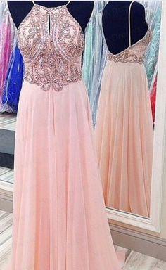 Custom Made A Line Pink Backless Prom Dress