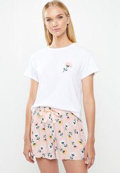 Sleep tee & shorts set -pink & white Superbalist Sleepwear | Superbalist.com Sleepwear Women, Lingerie Sleepwear, Hip Bones, Pink White, Short Dresses, Tights, Short Sleeves, Shorts, Tees