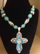 Western Turquoise Cross Rhinestone Chunky Necklace Flower Cowgirl Rhinestone