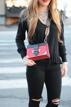 Black and Red, City style, Prada Cahier Bag, Ruffle Sweater, Rachel Puccetti Between Two Coasts