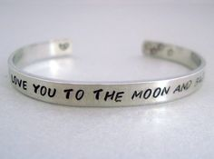 2-Sided Hand Stamped Aluminum Cuff Bracelet - I Love You to the Moon and Back.