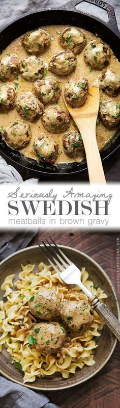 Seriously Amazing Swedish Meatballs in Brown Gravy – hearty and comforting meatballs in the most delicious brown gravy ever. Seriously Amazing Swedish Meatballs in Brown Gravy – hearty and comforting meatballs in the most delicious brown gravy ever. Beef Dishes, Food Dishes, Main Dishes, Meat Recipes, Cooking Recipes, Healthy Recipes, Recipies, Oven Recipes, Sirloin Recipes