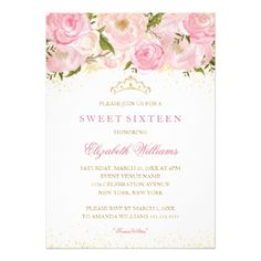 Elegant Pink Gold Rose Sweet Sixteen Invitation - glitter gifts personalize gift ideas unique