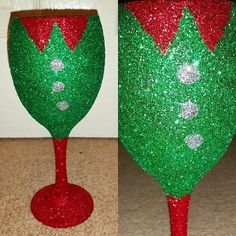 Christmas Elf Glitter Wine Glass by PixieGlittered on Etsy