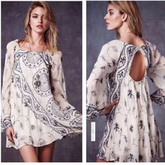My Beloved Georgette Dress Style # 34047738 $350 plus tax!! Shapeless sequin , embroidered mini dress, sheer bell sleeves, keyhole opening in back. 100% polyester , lined. Free People Dresses