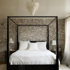 bedroom - whitewashed brick