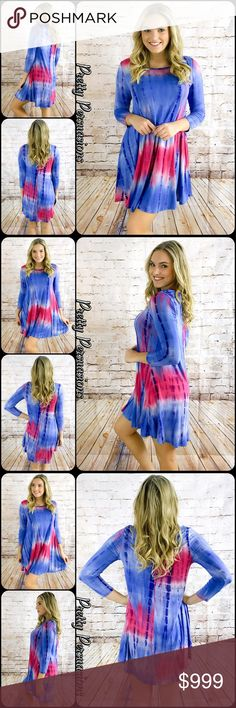 "NWT Festival Tie Dyed Hippie Dress NWT Blush Blue Mix Festival Tie Dyed Hippie Dress  Available in size: M ❗️ONE LEFT❗️ Measurements taken from a size small Length: 35"" Bust: 34"" Waist: 38""  95% Rayon 5% Spandex Made in the USA  Features • beautifully tie dyed design  • super soft jersey knit material w/stretch • relaxed, easy fit • breathable material  • 3/4 sleeves  Bundle discounts available No pp or trades  Item # 1/10540390TDD black white striped blush pink blue floral vintage hippie…"