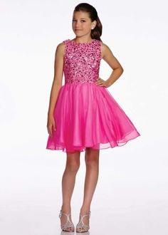 Lexie by Mon Cheri TW11655 Sparkly Beaded A-Line Hot Pink Bat Mitzvah Dress