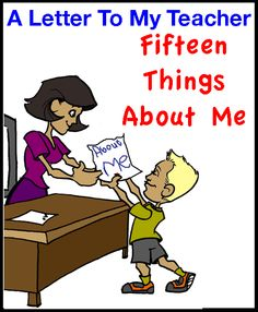 A Letter to My Teacher - 15 Things About Me Free Download from Natural Learning Concepts (Autism and Special Needs Tools)