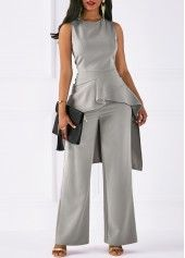 Grey Two Piece Sleeveless Peplum Jumpsuit Sleeveless Asymmetric Hem Top and Grey Pants Look Fashion, Fashion Outfits, Womens Fashion, Latest Fashion, Grey Fashion, Trendy Outfits, Cute Outfits, Fashion Trends, Robes D'occasion