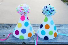 Birthday Party Hat - Polka-dot Party Hat - Girls and Boys Felt Party Hat - Boy/Girl Twins on Etsy, $14.00