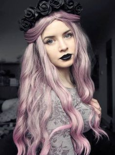 pink hair with black lips and head dress