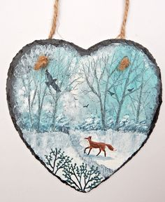 Winter Fox - acrylic on a 6 inch slate heart (SOLD)