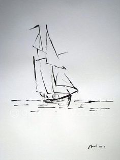 Ink Drawing Dessin original à lencre 2014 x 14 7 cm x 41 cm) « Voilier Stylo Art, Doodle Drawing, Drawing Faces, Ship Drawing, Ink Drawings, Small Drawings, Pen Art, Art Sketches, Simple Sketches
