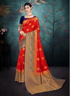 Red Reception Traditional Saree Indian Bridal Sarees, Bridal Lehenga Choli, Banarasi Lehenga, Trendy Sarees, Sari, Art Silk Sarees, Varanasi, Traditional Sarees, Red Silk