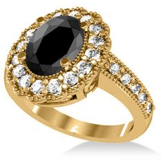 Allurez Black Diamond & Diamond Oval Halo Engagement Ring 14k Yellow... (28.300 BRL) ❤ liked on Polyvore featuring jewelry, rings, engagement rings, 14k diamond ring, black diamond engagement rings, gold rings and 14k gold ring