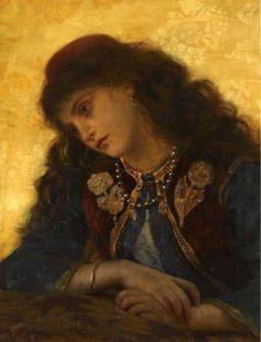 "Pre-Raphaelite Painting: ""A Greek Girl,"" by Sophie Gengembre Anderson (French, 1823 - Gustav Klimt, Pre Raphaelite Paintings, Sophie Anderson, Greek Girl, Web Gallery, Purple Love, Old Master, Master Art, Art Day"