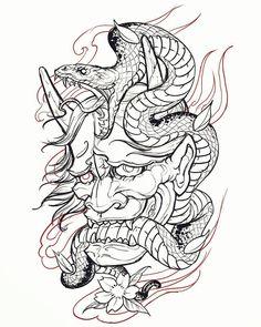 Oni Tattoo, Hannya Maske Tattoo, Hanya Tattoo, Samurai Tattoo, Japan Tattoo Design, Japanese Tattoo Designs, Tattoo Design Drawings, Clock Tattoo Design, Tattoo Sketches