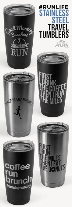 Take your coffee or tea to go with our #runlife collection of stainless steel 20oz. double insulated tumblers. A great gift for your favorite runner that they will enjoy year round.