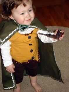 Make a Hobbit costume for your little guy or girl....too cute! #literary #costumes #halloween