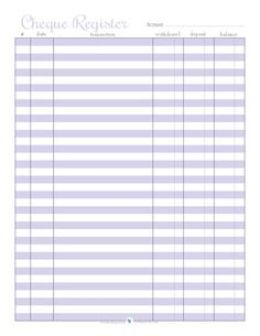Home Management - Free Printables- free printable check register in purple Printable Checks, Printable Planner, Free Printables, Printable Calendars, Recipe Printables, Office Organization At Work, Diy Organization, Organizing Ideas, Printable Organization