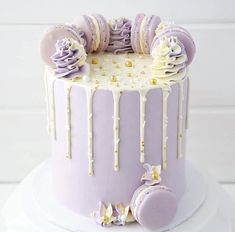 A lot of you asked what colour I used for my buttercream and in case you're still… 14th Birthday Cakes, Beautiful Birthday Cakes, Beautiful Cakes, Purple Birthday Cakes, Bolo Macaron, Macaroon Cake, Pretty Cakes, Cute Cakes, Sweet Cakes