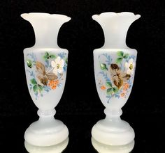 Very Nice Pair Antique Pale Blue Bristol Glass Vases Painted With Flowers Gilt