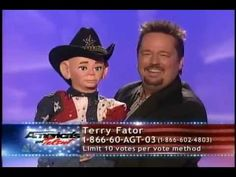 """Terry Fator performing """"Friends in Low Places"""" with Walter T. Airedale."""