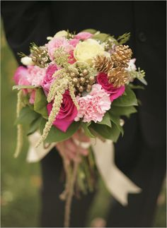 gold pink bridal bouquet -- idea of gold pinecones and berries
