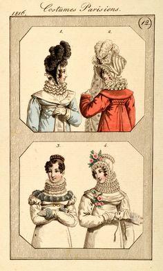 Empire Mode Stich Fashion Original antique 1816 Schleier Halskrause Ruff Collar