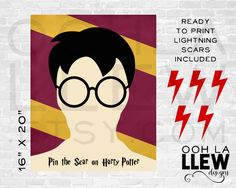 Pin the Scar on Harry Potter, Harry Potter Birthday, Harry Potter Shower, Harry Potter Theme, Harry Potter Party, Hogwarts Harry Potter Game by OohLaLlew on Etsy