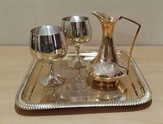 Handmade Vintage Decorative Set of 2 Cocktail Glasses 1 Pitcher Vessel 1 Serving Tray for Home Kitchen and Dining Centerpiece Decor Made in India with Solid Brass Material Gold pack of 4 * Want additional info? Click on the image.