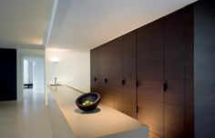 Simplistic minimalist clean lines kitchen. Wood cupboards (feature)