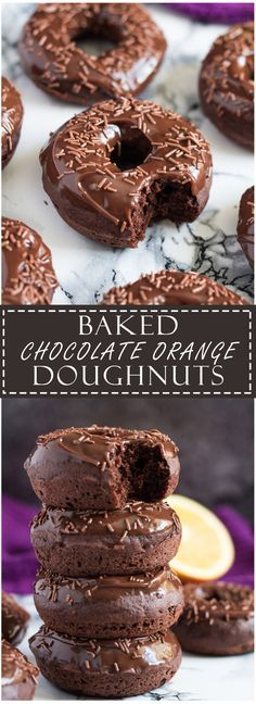 Learn how to make these delicious Baked Double Chocolate Orange Doughnuts from Marsha's Baking Addiction. Donuts were baked using the Wilton Donut Pan. Just Desserts, Delicious Desserts, Dessert Recipes, Yummy Food, Cake Recipes, Cupcakes, Cupcake Cakes, Yummy Treats, Sweet Treats