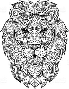 Decorative ornate vector lion head drawing for coloring book Hand drawn doodle zentangle lion illustration. Decorative ornate vector lion head drawing for coloring book Lion Coloring Pages, Mandala Coloring Pages, Coloring Books, Mandalas Drawing, Mandala Art, Mandala Lion, Lion Head Drawing, Drawing Drawing, Printable Coloring