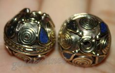 Tibetan Nepalese Handmade lapis brass 2 Beads BDS by goldenlines