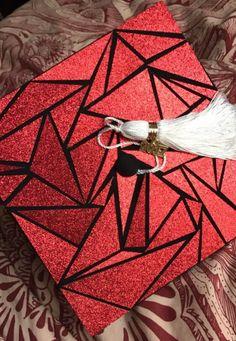 Red, mosaic graduation cap (Ohio State)