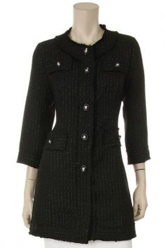 65 percent Polyester 35 percent Wool 1S/1M/1L/1XL Per Pack Black This HIGH QUALITY jacket is GORGEOUS!! Made from a super soft and cozy fabric, this sweet Channel looking jacket comes fully lined, and fits true to size.