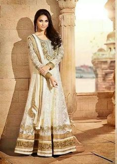 #Lara #Dutta Suit-#Cream Faux Georgette #Anarkali #Suit with Embroidered and Lace Work - Rs. 7,199 #zohraa