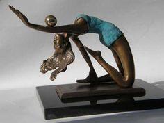 Bronze Sculptures of Sport #by #sculptor Janos Lukacs titled: 'Gymnast (Small Bronze Beautiful with Ball Sculptures)' £500 #art