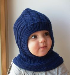 READY TO SHIP sizes 6-12m, 3-6-10y! Navy Blue Merino Balaclava Hat, Baby/Toddler Kids Hoodie Hat & Neckwarmer.