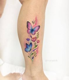 Butterfly Tattoos For Women, Foot Tattoos For Women, Butterfly Tattoo Designs, Tattoo Designs For Women, Butterfly On Flower Tattoo, Mini Tattoos, Leg Tattoos, Body Art Tattoos, Small Tattoos