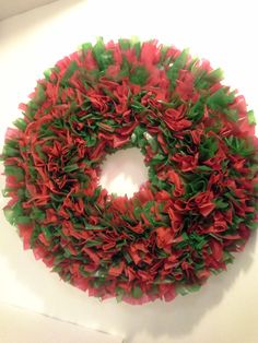 16 Inch Christmas Tablecloth Wreath Red And by NanewsCreations