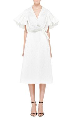 medium white brocade trench with pleated-sleeves