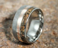 A ring inlaid with rock from a meteorite and dinosaur fossils.  I think this was one of the Mandarin's rings.
