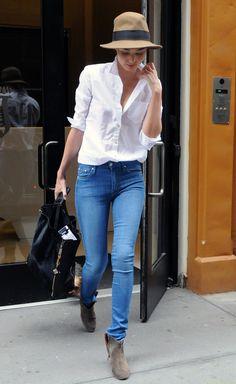 Miranda Kerr White Shirt Skinny Blue Denim Jeans Isabel Marant Tan Boots Celine Leather Pony Hair Tote Rag And Bone Hat StyleChi